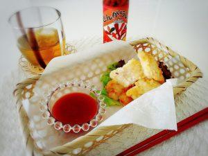 鱈の唐揚げスイチリケチャップソース添え
